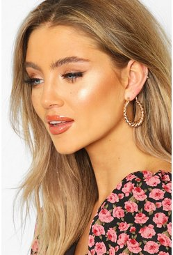 Gold Chunky Twist Hoop Earrings