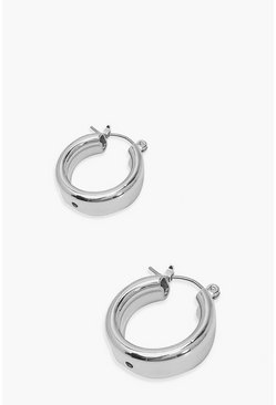 Silver Mini Chunky Hoop Earrings