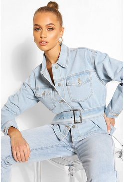 Light blue Belted Denim Jacket
