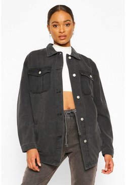 Black Denim Longline Shirt Jacket