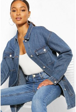 Mid blue Denim Longline Shirt Jacket