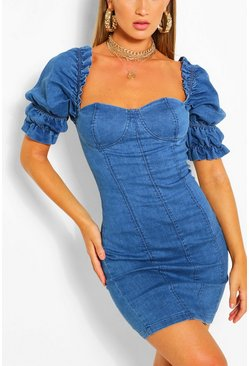Mid blue Ruffle Sleeve Denim Bodycon Dress