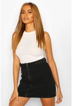 Washed black Buckle Detail Zip Denim Skirt