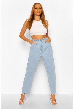 Light blue High Waist Frayed Hem Vintage Wash Mom Jeans