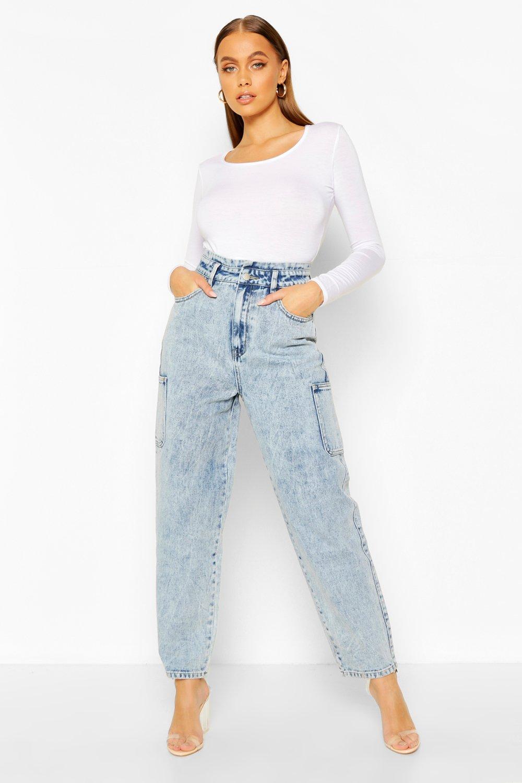 Vintage High Waisted Trousers, Sailor Pants, Jeans Womens High Waist Utility Cargo Jean - Blue - 12 $20.00 AT vintagedancer.com