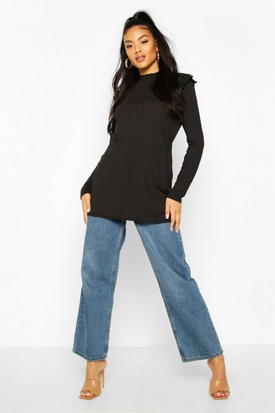Black Ruffle Shoulder Long Sleeve Rib Tunic