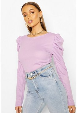 Lilac Ribbed Puff Sleeve Top