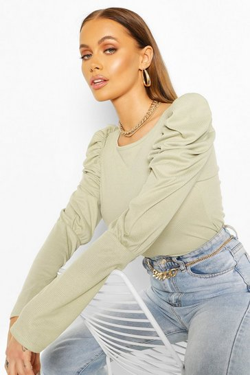 Sage Ribbed Puff Sleeve Top