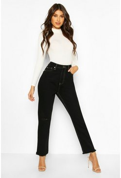 Black Contrast Stitch Distressed Straight Leg Jean