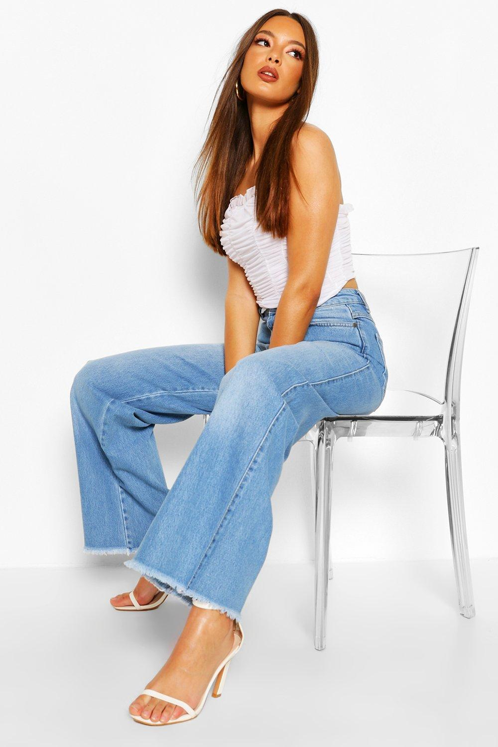 70s Outfits – 70s Style Ideas for Women Womens High Rise Wide Leg Jean - Blue - 12 $52.00 AT vintagedancer.com