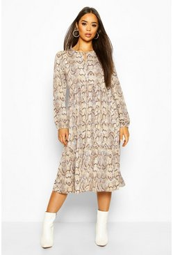 Brown Snake Print Midi Smock Dress