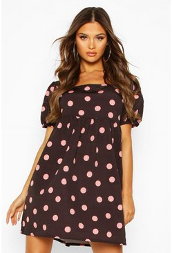 Pink Big Polka Dot Smock Dress