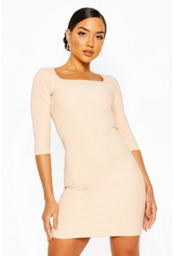 Nude Square Neck Rib Bodycon Dress