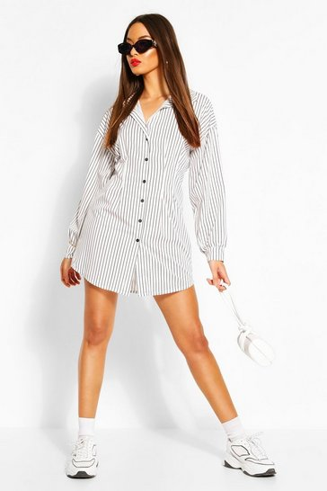 White Stripe Cinched In Waist Shirt Dress