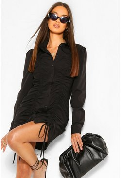 Black Ruched Front Shirt Dress