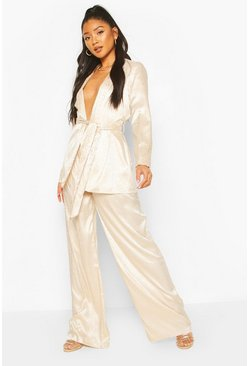 Champagne Animal Satin Pleat Wide Leg Trouser