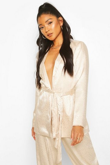 Champagne Animal Satin Belted Blazer