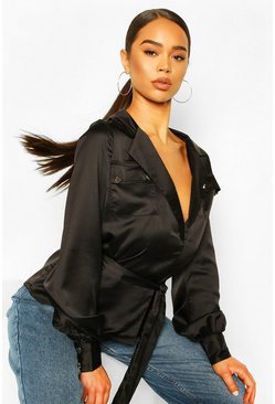 Black Utility Satin Shirt