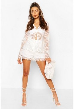 Ivory Occasion Lace Shorts