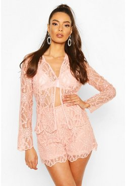 Blush Occasion Lace Collarless Blazer