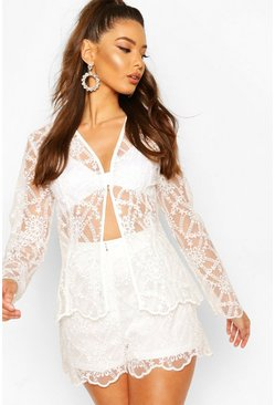 Ivory Occasion Lace Collarless Blazer