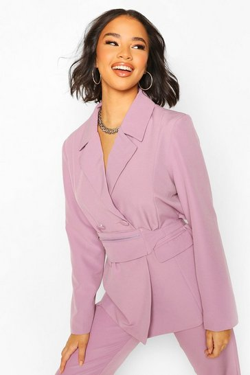 Washed lilac Bum Bag Belt Oversized Blazer
