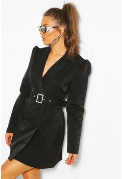 Black Diamante Buckle Blazer Dress