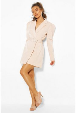 Champagne Diamante Buckle Blazer Dress
