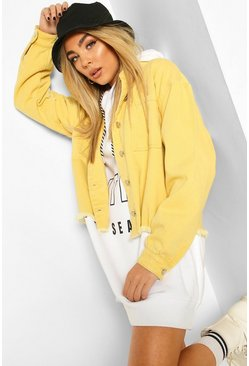 Yellow Oversized Washed Denim Shirt Jacket