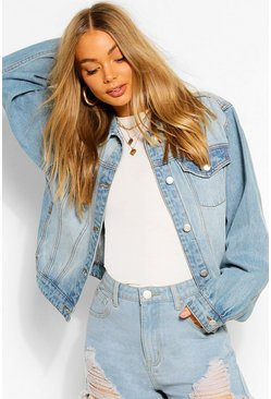 Mid blue Balloon Sleeve Boxy Denim Jacket