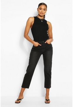 Black High Waist Straight Leg Jean