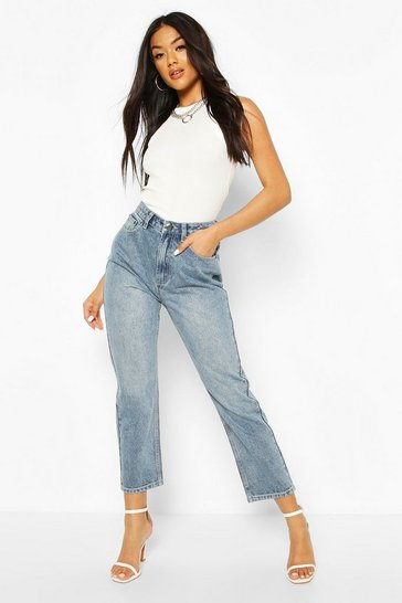 Light blue High Waist Straight Leg Jean