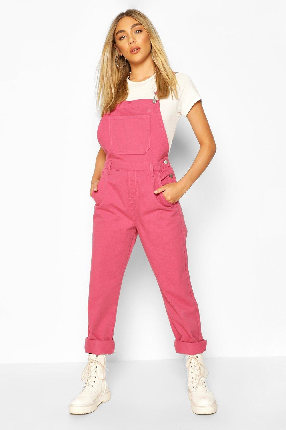 Vintage High Waisted Trousers, Sailor Pants, Jeans Womens Boyfriend Denim Overall - Pink - 12 $27.00 AT vintagedancer.com