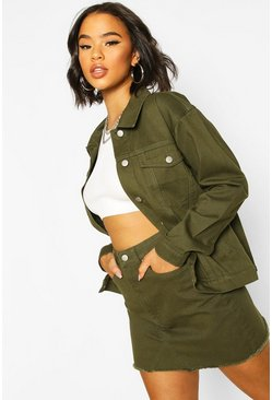 Khaki Boyfriend Denim Jacket