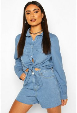 Pale blue Tie Front Western Denim Shirt