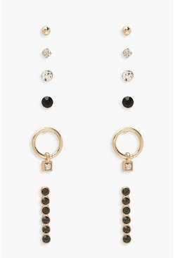 Gold Gem Detail Earring 6 Pack