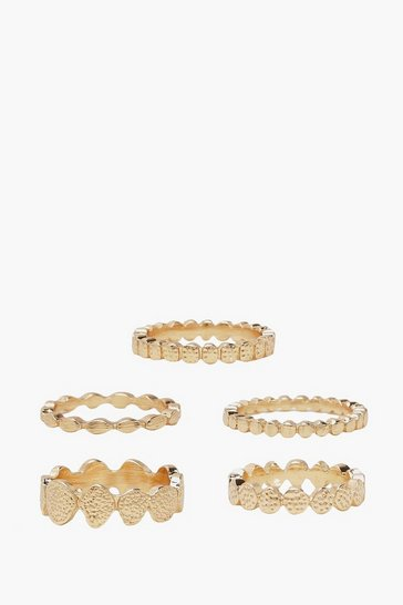 Gold Simple Hammered Circle Ring Pack