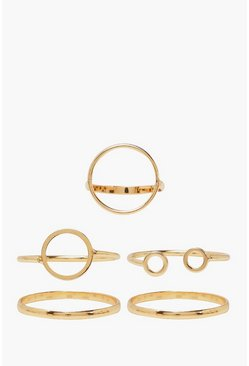 Gold Simple Circle Stackable Ring 5 Pack