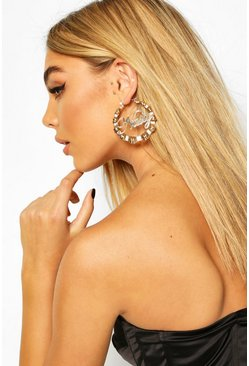 Gold Nasty Slogan Bamboo Effect Earrings