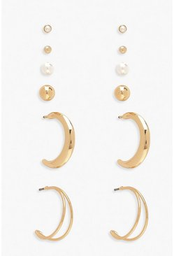 Gold Simple Stud & Hoop Earring 6 Pack