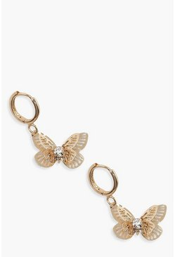 Gold Butterfly Mini Hoop Earrings