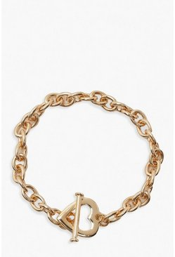 Gold Heart & Bar Clasp Chain Bracelet