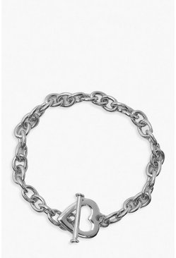 Silver Heart & Bar Clasp Chain Bracelet
