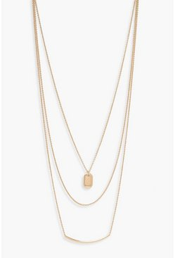 Gold Bar & Pendant Layered Necklace