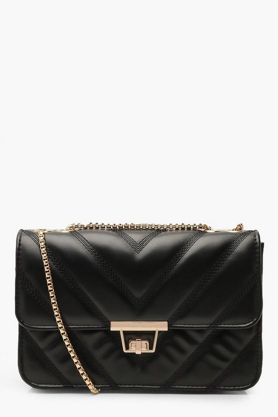 Womens Black PU Chevron Cross Body Bag