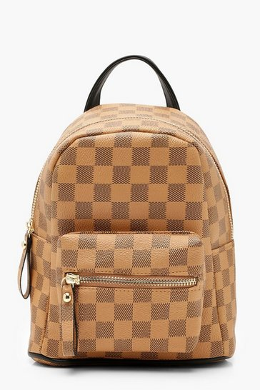 Womens Brown All Over Check Mini Rucksack