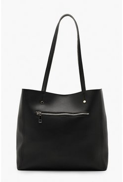 Zip Window Tote Bag, Black