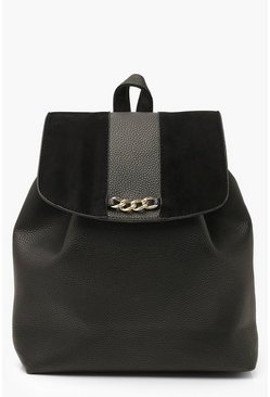 Black Textured PU & Suedette Chain Detail Rucksack