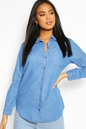 Mid blue Oversized Denim Shirt