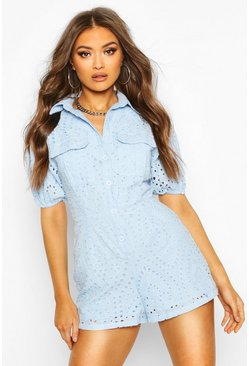 Baby blue Broderie Anglaise Utility Pocket Playsuit
